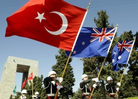 Anzak Gunu Turk Avustralya ve Yeni Zelanda Bayraklari Bir Arada