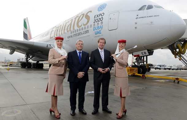 Nigel Hopkins, Excecutive Vice President Service Departments, Emirates with George O'Grady, Chief Executive of the European Tour and two Emirates crew.