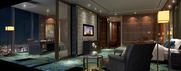 Londra'da yeni inşa edilen The Shard Gökdelenindeki Shangri-La otelinin odalarında hiç bir masraftan kaçınılmamış