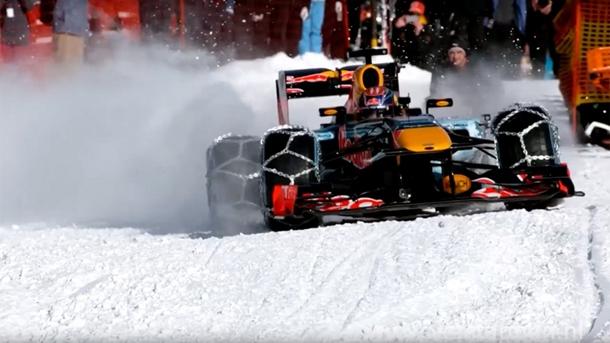 Formula 1 aracıyla kayak pistinde sıra dışı gösteri