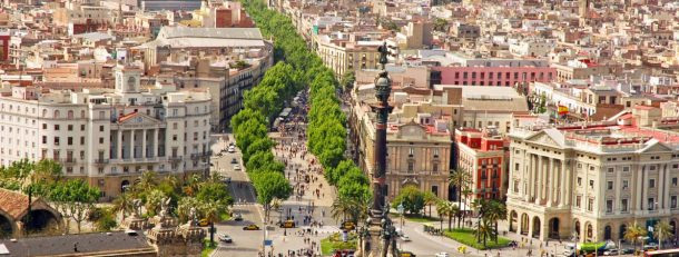 View of La Rambla from cross-harbour cable car in Barcelona, Spain