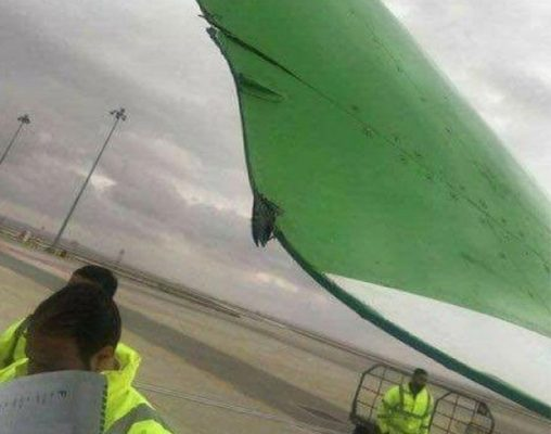 Amman'da yer hizmetleri aracı uçağa çarptı