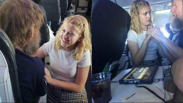 Küçük kız uçakta kör ve sağır yolcuya işaret dili ile yardım etti!