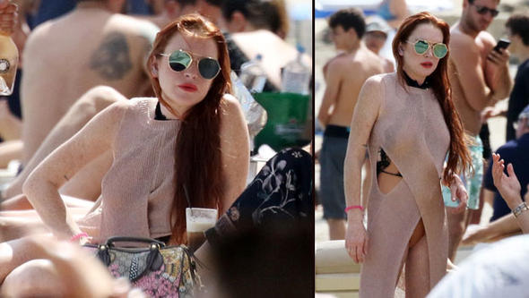 Lindsay Lohan Yunan Adası Mykonos'ta ortaya çıktı