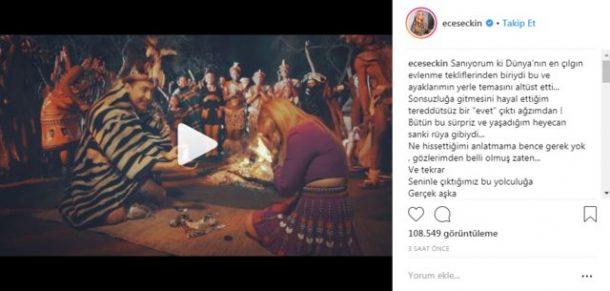 Ece Seçkin Afrika'da aldığı evlenme teklifini sosyal medyadan duyurdu