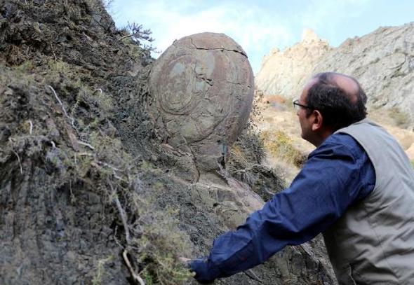 Erzurum'daki salyangozu andıran kayayı parçaladılar!