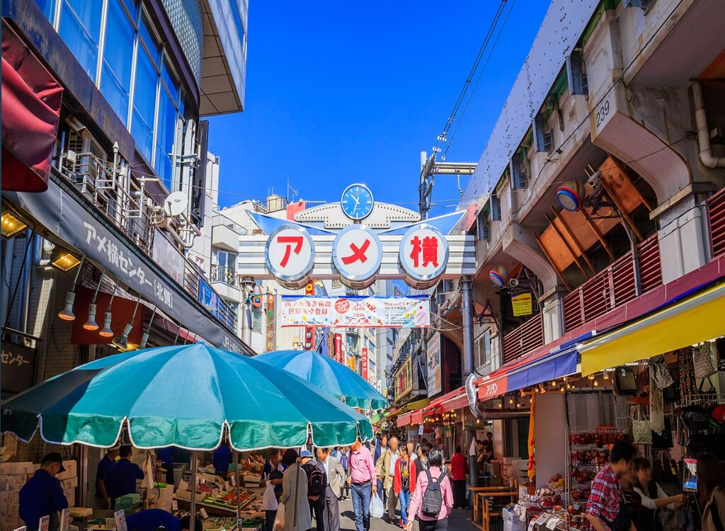 Japonya Ameya-Yokocho açık hava pazarı